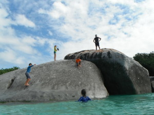 Jumping off the rock